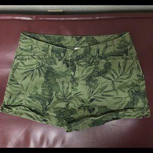 Army green tropical shorts